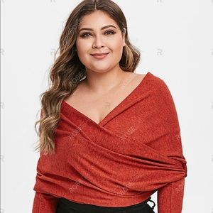 Plus Size Plunge Crop Sweater Size 24